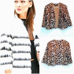 FOREVER 21 Leopard Print Shaggy Jacket